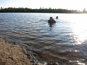 John and Ish take a dip after a long day on trail